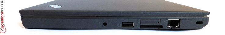 right side: 3.5-mm combined stereo jack, USB 3.0, SD card reader, SIM-Slot, Ethernet, Kensington Lock