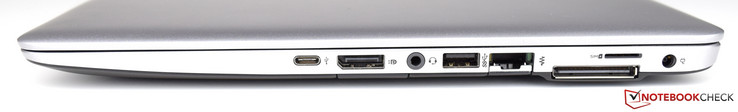 Right: USB Type-C, DisplayPort, SD-card reader, 3.5-mm audio, USB 3.0, RJ-45, docking port, Micro-SIM, power