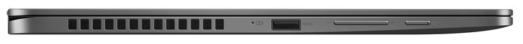 Left side: USB 3.1 Gen 1 (Type A), volume rocker, power button