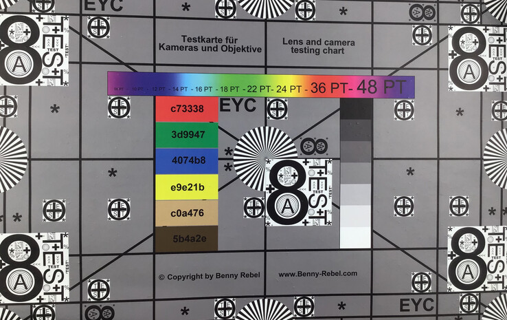 A photo of our test chart