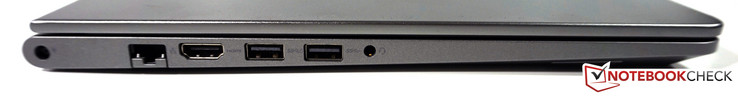 Left side: Power, RJ45 Ethernet, HDMI, USB 3.0 with PowerShare, USB 3.0, 3.5 mm audio